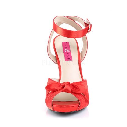 front of red platform ankle strap sandal with bow 5-inch heel Eve-01