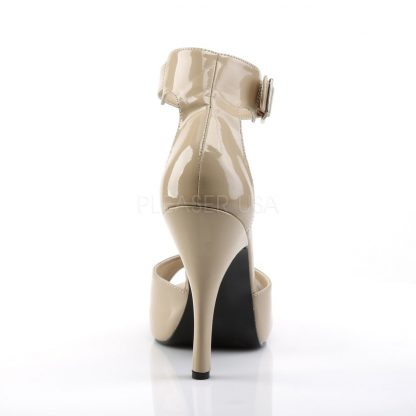 back of cream closed back ankle strap sandal and 5-inch heel Eve-2