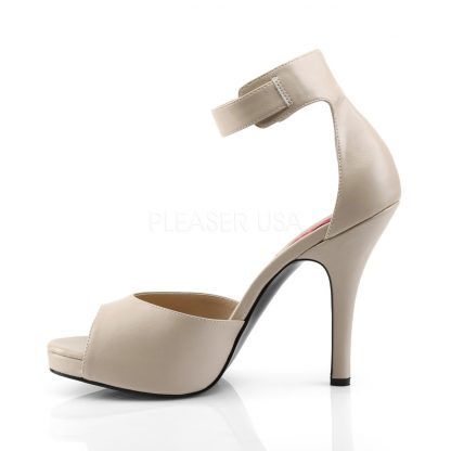 side of cream faux leather closed back ankle strap sandal and 5-inch heel Eve-2