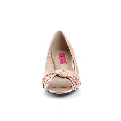 front of blush satin peep toe pump with 2-inch heel Fab-422