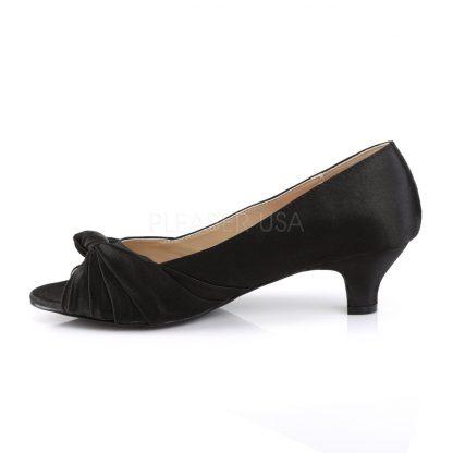 side view of black satin peep toe pump with 2-inch heel Fab-422