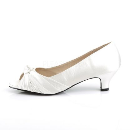 side view of ivory white satin peep toe pump with 2-inch heel Fab-422
