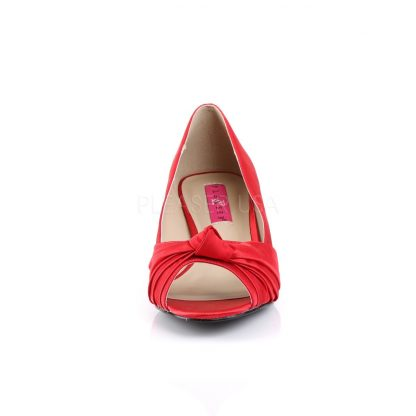 front of red satin peep toe pump with 2-inch heel Fab-422