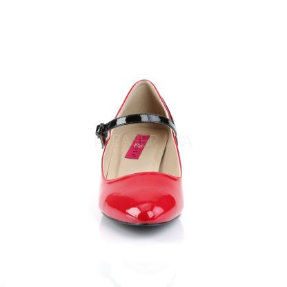 front of red Mary Jane pump with 2-inch kitten heel Fab-425