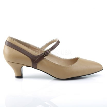 side view of tan Mary Jane pump with 2-inch kitten heel Fab-425