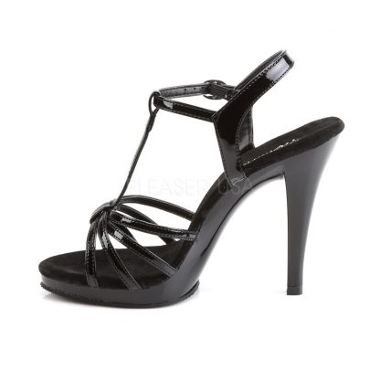 side view of black platform sandals with 4-inch stiletto heels Flair-420