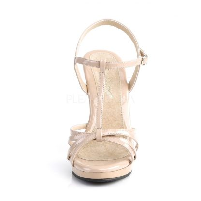 front of strappy nude platform sandals with 4-inch stiletto heels Flair-420
