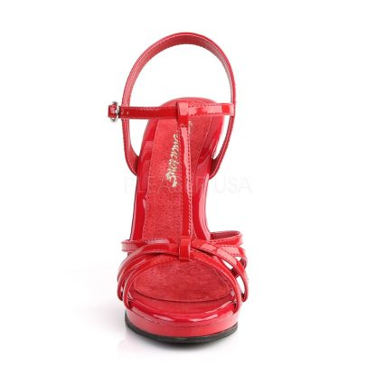front of strappy red platform sandals with 4-inch stiletto heels Flair-420