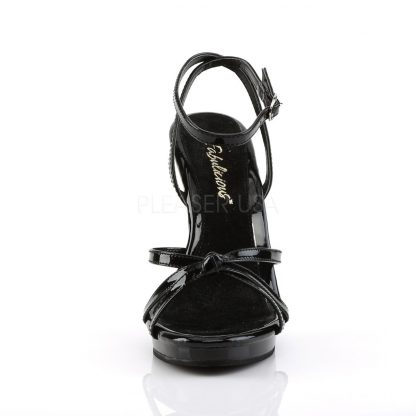 front of black Strappy ankle wrap sandal shoe with 4.5-inch heel Flair-436