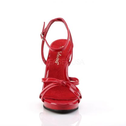 front of red Strappy ankle wrap platform sandal shoe Flair-436