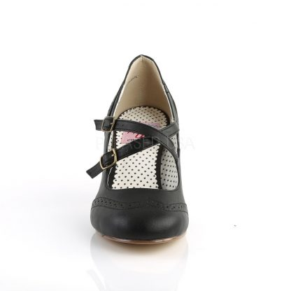 front of Round toe black faux leather criss-cross Mary Jane pump Flapper-35