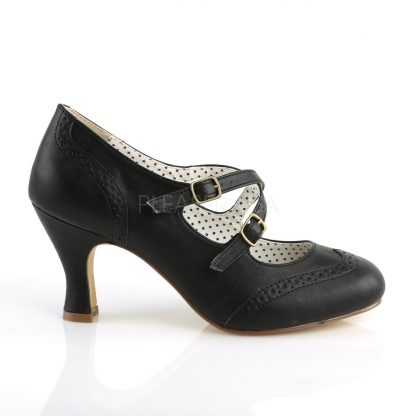 side view of black faux leather criss-cross Mary Jane pump 3-inch heel Flapper-35