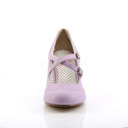 front of Round toe lavender faux leather Mary Jane pump 3-inch heel Flapper-35