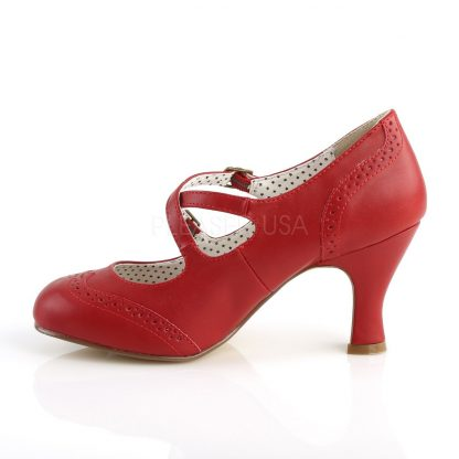 side view of red faux leather Mary Jane pump 3-inch kitten heel Flapper-35
