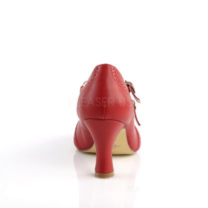 back of red faux leather Mary Jane pump 3-inch kitten heel Flapper-35