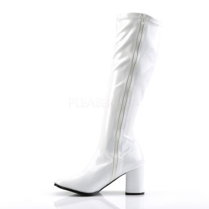 zipper on white knee high GoGo boots 3-inch heel sizes 5-16