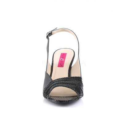 front of black slingback wedge peep toe sandals with 3-inch heel Kimberly-01SP