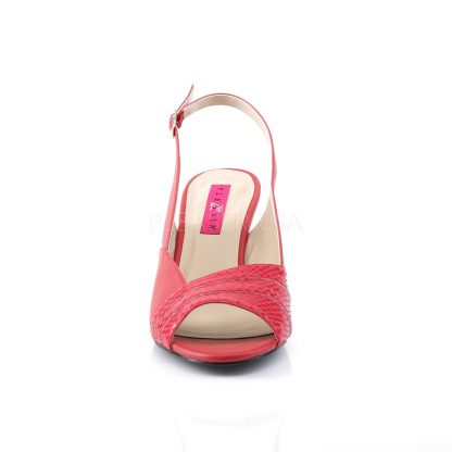 front of red slingback wedge peep toe sandals with 3-inch heel Kimberly-01SP