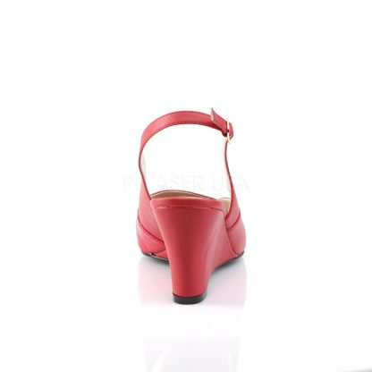 back of red slingback wedge peep toe sandals with 3-inch heel Kimberly-01SP