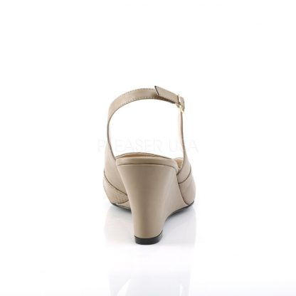 back of taupe slingback wedge peep toe sandals with 3-inch heel Kimberly-01SP