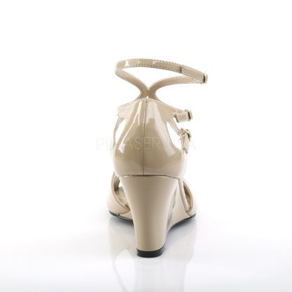 back of taupe strappy wedge sandals with 3-inch heel Kimberly-04