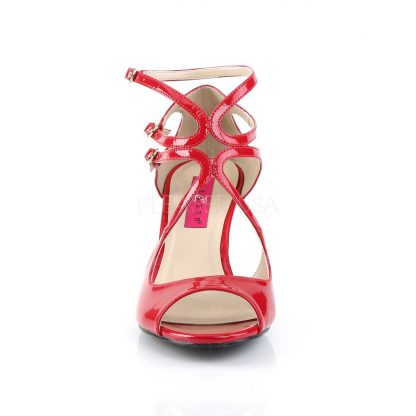 front of red strappy wedge sandals with 3-inch heel Kimberly-04