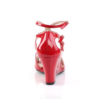 back of red strappy wedge sandals with 3-inch heel Kimberly-04