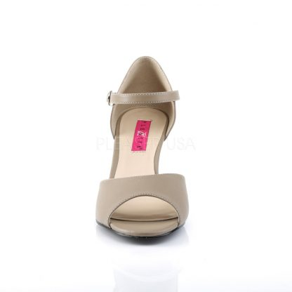 front of taupe ankle strap wedge peep toe sandals with 3-inch heel Kimberly-5