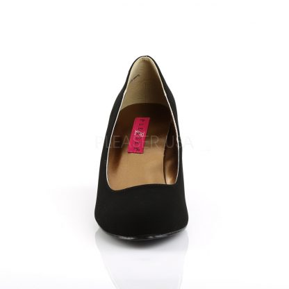 front of Classic black suede wedge pumps with 3-inch heels Kimberly-8