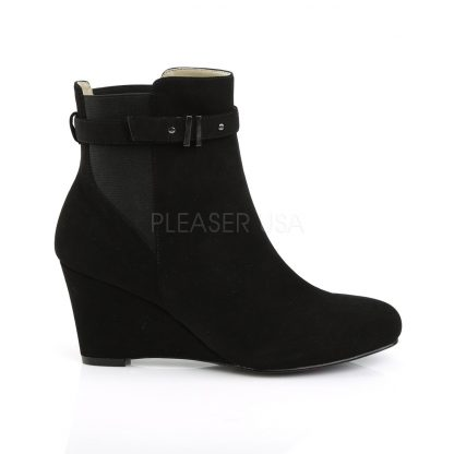 side of black ankle boot with 3-inch wedge heel Kimberly-102