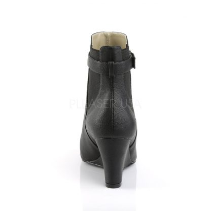 back of black ankle boot with 3-inch wedge heel Kimberly-102