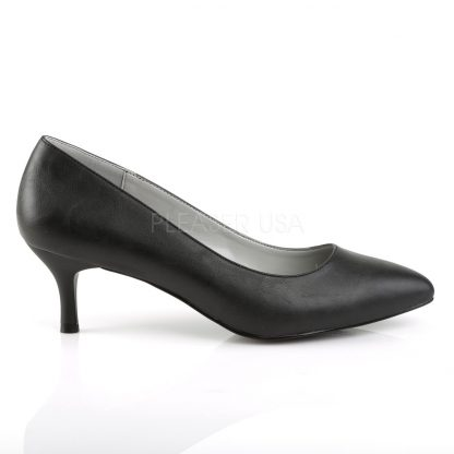 side of black faux leather classic pumps with 2.5-inch kitten heels Kitten-01