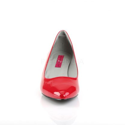 front of red classic pump shoes with 2.5-inch kitten heels Kitten-01