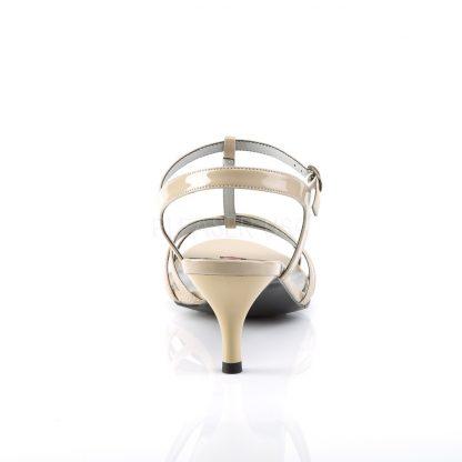 back of cream T-Strap open toe sandals with 2-inch kitten heel Kitten-06