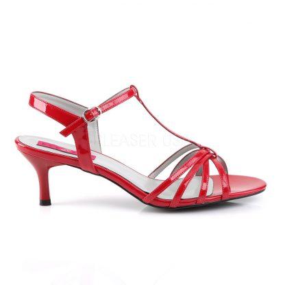 side of red T-Strap open toe sandals with 2-inch kitten heel Kitten-06