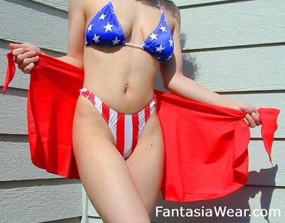 P-TRI American flag stars triangle bikini top with red wrap skirt