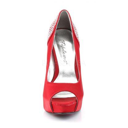 front of red Peep Toe Pump with Rhinestones on 5-inch Heel Lolita-08
