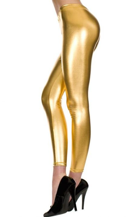 shiny gold foil leggings, metallic tights 35110
