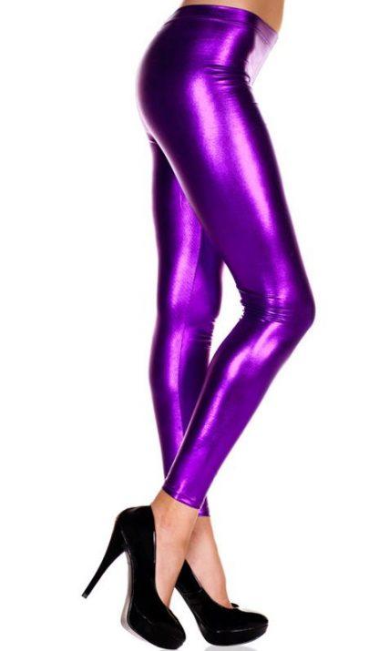shiny purple foil leggings, metallic tights 35110