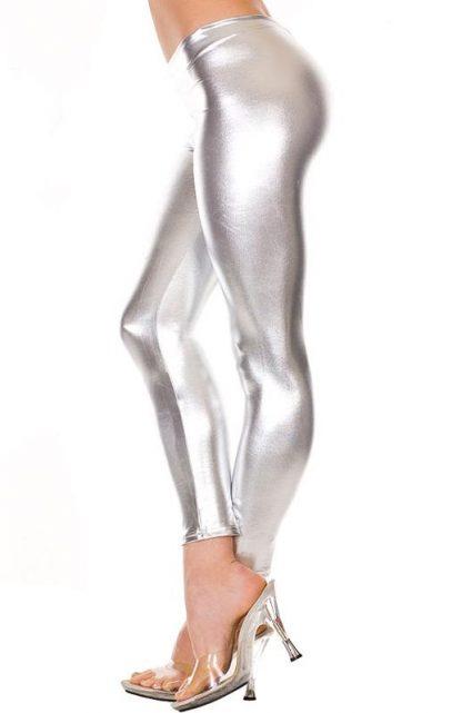 shiny silver foil leggings, metallic tights 35110