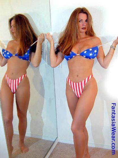 P-TRI American flag stars triangle bikini top in mirror
