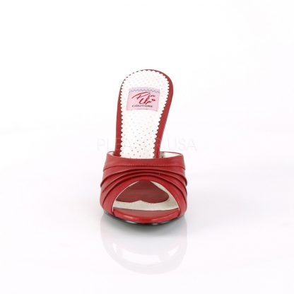 front of red Pleated-Vamp faux leather slide slipper with 4-inch Monroe-01