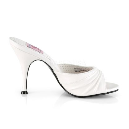 side view of white Pleated-Vamp faux leather slipper with 4-inch Monroe-01