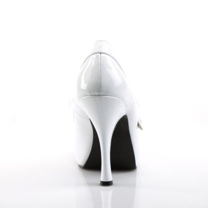 back of white Mary Jane pumps with 4.5-inch spike heel Pinup-01