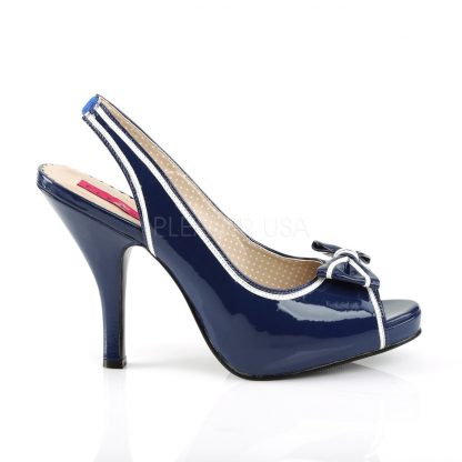 side of blue peep toe slingback sandals with bow and 4-inch heel Pinup-10