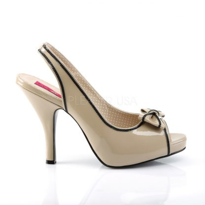side of cream peep toe slingback sandals with bow and 4-inch heel Pinup-10