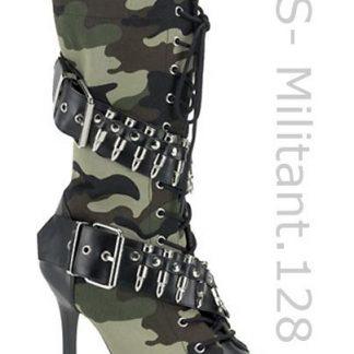 Militant-128 Camouflage knee boor with 4 inch heel