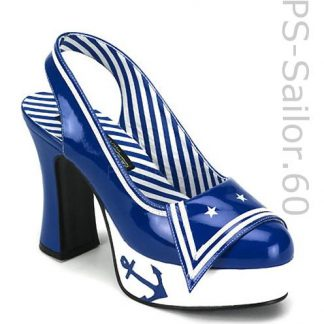 sailor costume high heel blue slingback pump shoes Sailor-60
