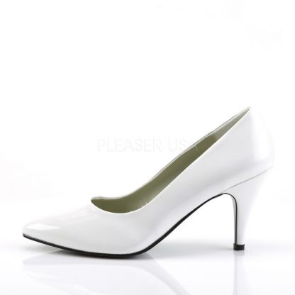 side view of Classic white pump shoes with 3-inch spike heels Pump-420