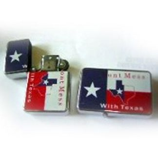 Texas cigarette lighter inscribed with Don't Mess With Texas
